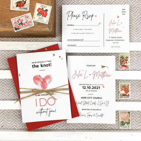 Fingerprint wedding invitation set with decorative post stamps