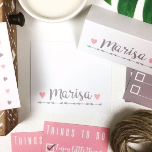 Pink Love Hearts and Arrows Place Cards