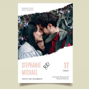 Photo of the couple in full colour on save the date modern design