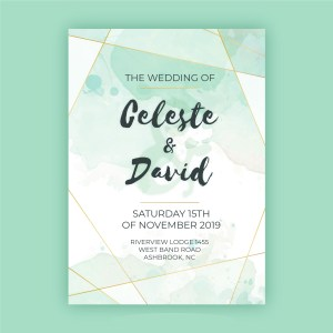 Turquoise watercolour save the date card with geometric shaped frame