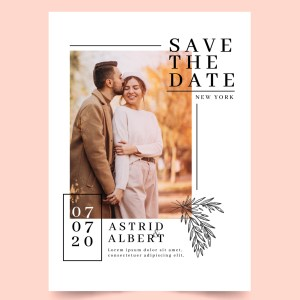 Save the date with full colour photo minimal
