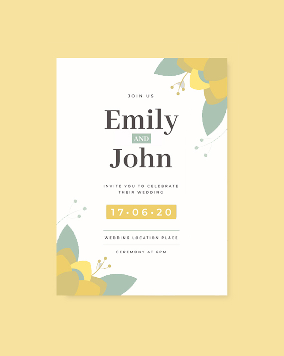 Save the Date card with flowers in yellow and green shades