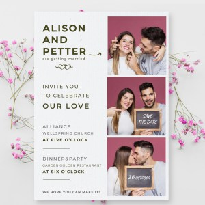 A6 wedding card with 3 photos of the engaged couple