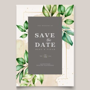 Watercolour botanical minimal save the date with green and mocca hints