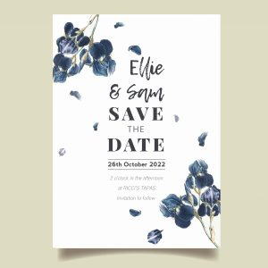 Save The Date cards with navy flower design and watercolour blue