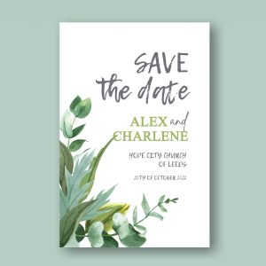 Save the date card with botanical design green watercolour