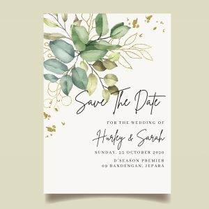 Save The Date cards with watercolour green leaves