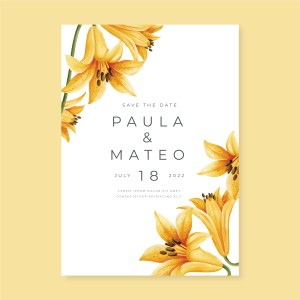 Save The Date with yellow flower design watercolour