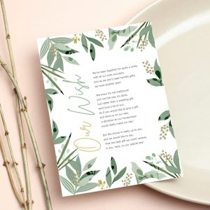 wish card with green botanical leaves design