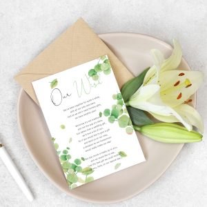 honeymoon wish poem card with eucalyptus leaves design