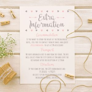 info card with rustic love hearts