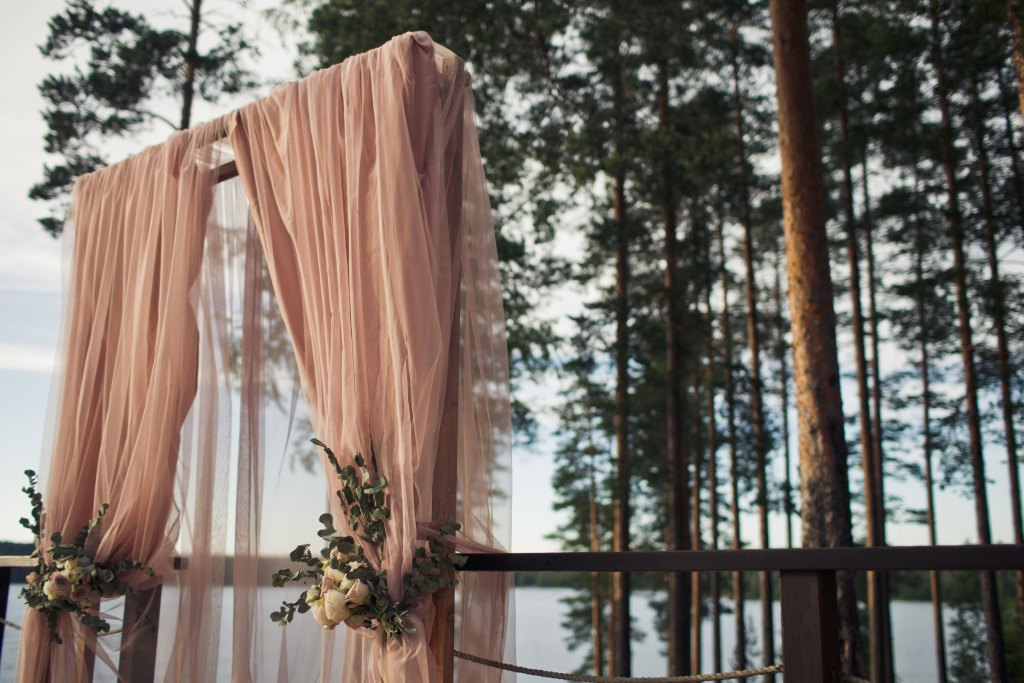 Pink Drapes Wedding Arch
