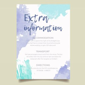 info card with dusky blue aquarelle background