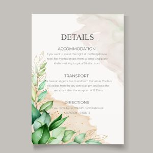 info card with leave botanical design