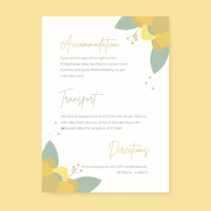 info card with yellow and green flowery background