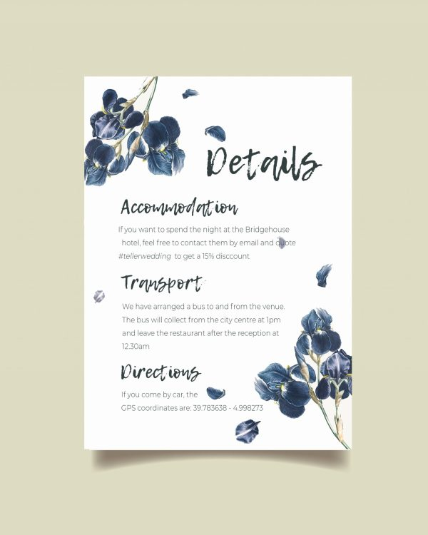 info card with navy wateroclour flowers