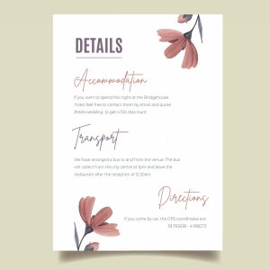 info card with elegant pink flowers design
