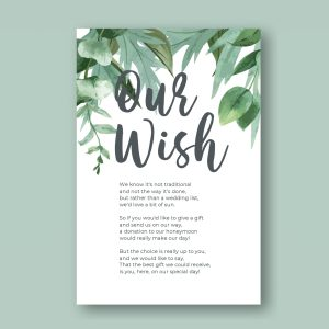 honeymoon wish poem card with botanical leaves at the top