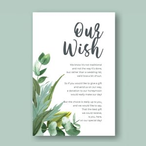 honeymoon wish card with green leaves minimal botanical design