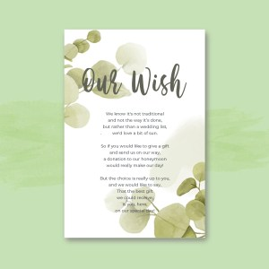 honeymoon wish poem card with eucalyptus background in sage watercolour green