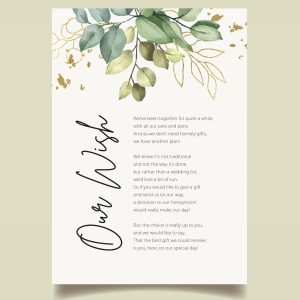 honeymoon wish poem card with watercolour green leaves
