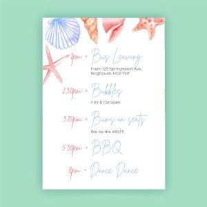 timeline card with beach detail order of the day