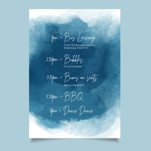 timeline card with watercolour navy background