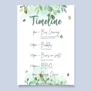timeline card with sage botanical design in watercolour