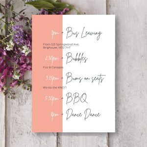order of the day card with pink banner
