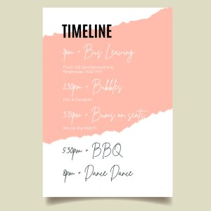 wedding order of the day timeline card with pink stripe