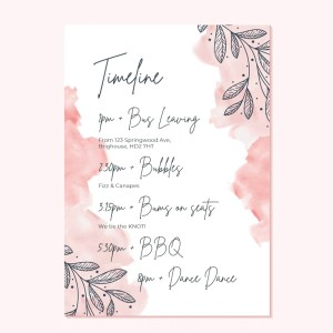 wedding timeline card with pink watercolur background with leaves