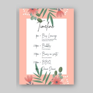 order of the day card with white floral background