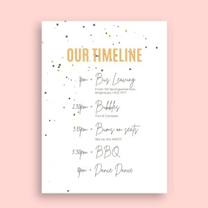order of the day timeline card with polka dot detail