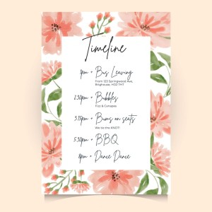 timeline card with flowery frame