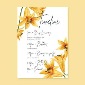 wedding timeline card with yellow flower design