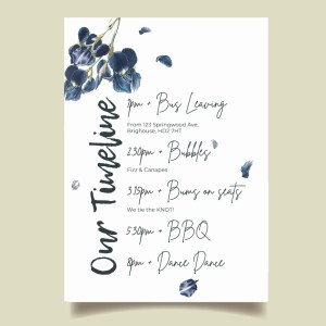 Timeline card with navy flowers