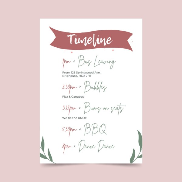 timeline order of the day card with banner and botanical details