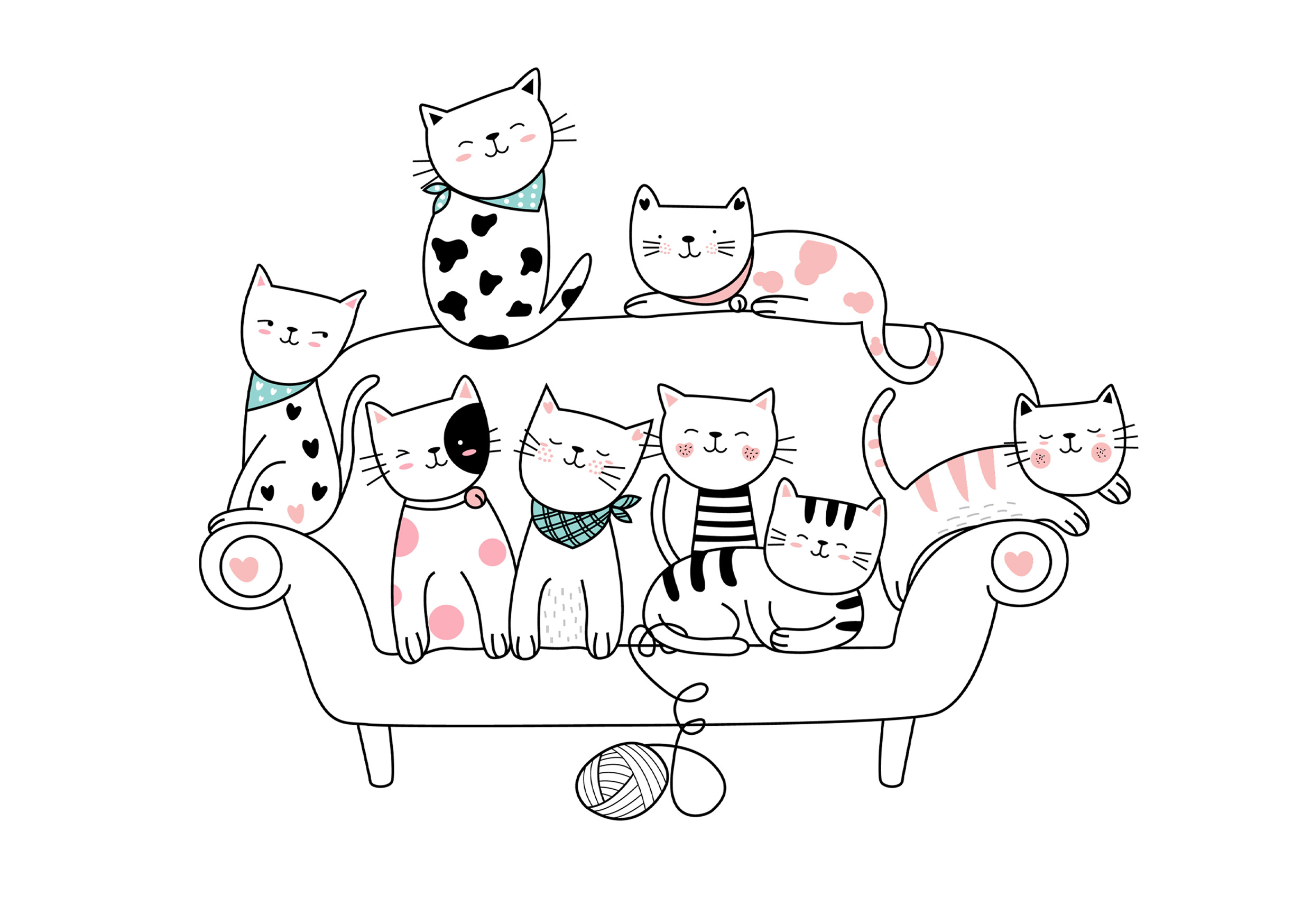 Bunch of little cats on couch