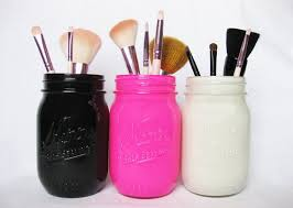 mason jars and makeup brushes