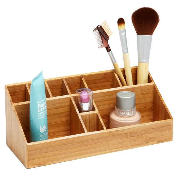 A wooden makeup organiser