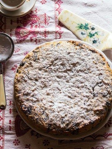 ricotta chocolate cake-cake with icing sugar