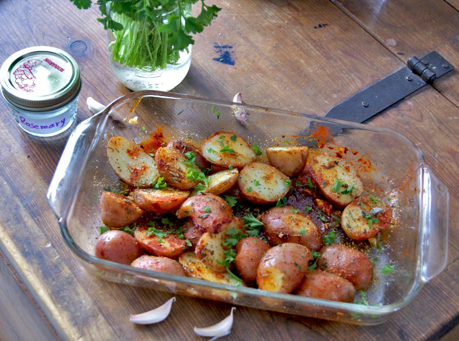 Herb Dill Salmon and Roasted Paprika Potatoes