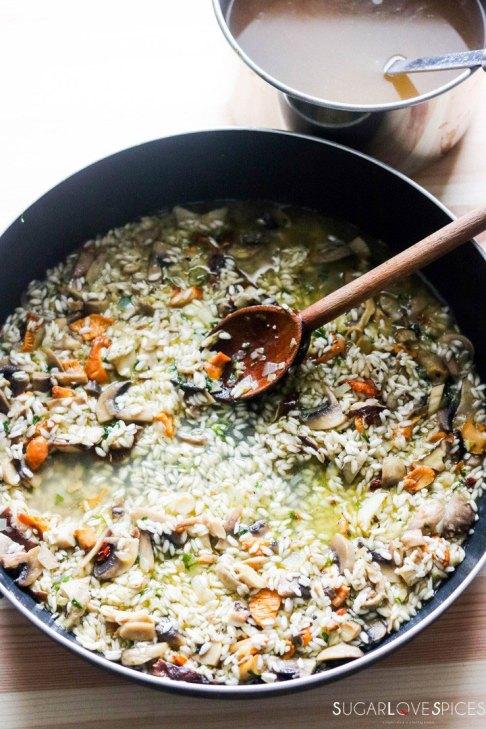 Mixed Mushroom Risotto-broth in the pan