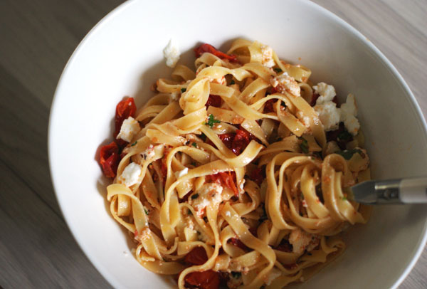 Tagliatelle with ricotta and roasted tomatoes ...
