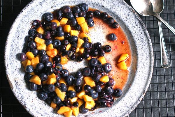 Extra crispy peach blueberry saskatoon crisp