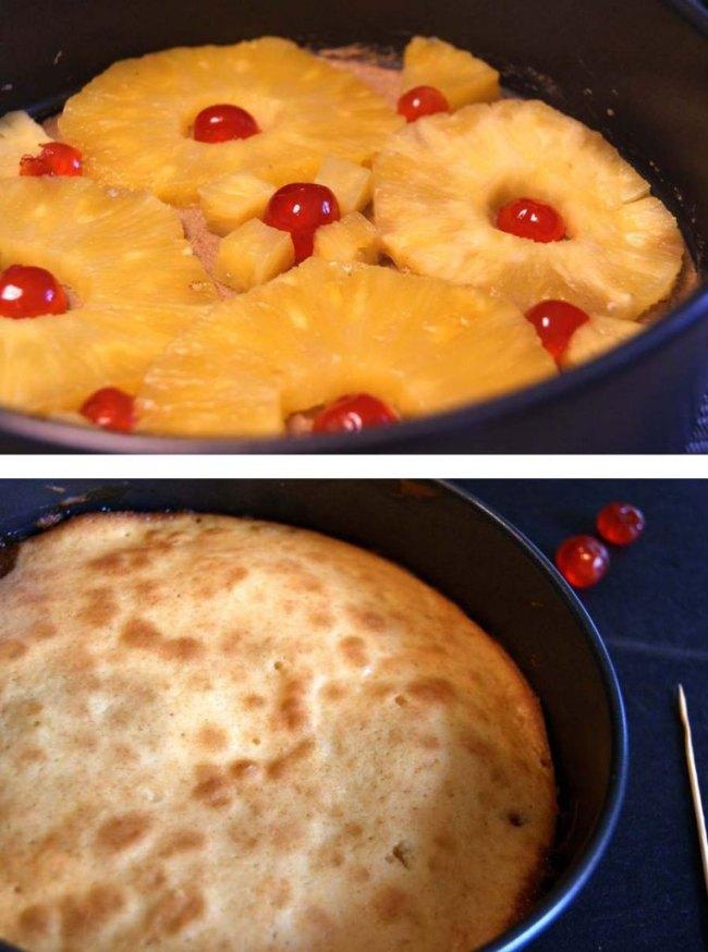 Pineapple upside-down cake-prep