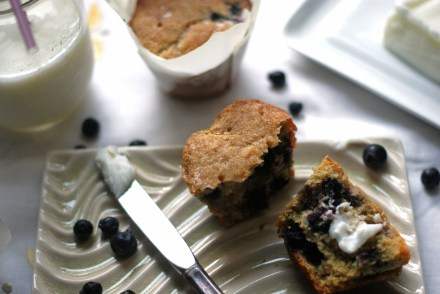 blueberries-saskatoon-lime-cornmeal-muffins