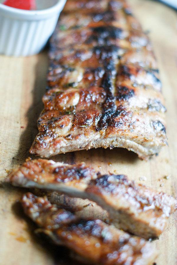 bbq pork ribs with rhubarb chutney