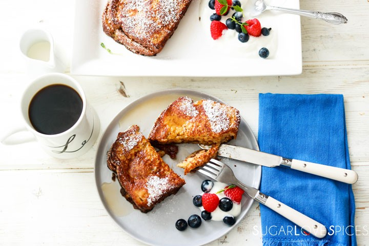 Nutella Banana Stuffed French Toast-forkful