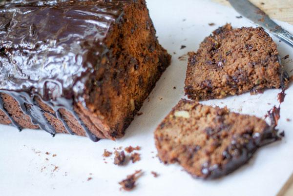 Kamut flour Chocolate walnut zucchini loaf